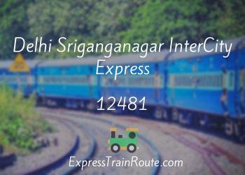 Delhi Sriganganagar InterCity Express - 12481 Route, Schedule